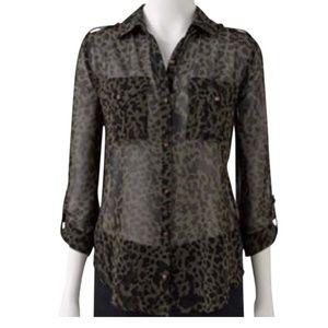 Rock & Republic cheetah sheer shirt black small